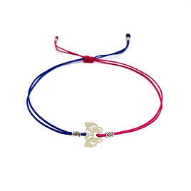 Bracelet personnalisé papillon acier inoxydable cordon rouge bleu