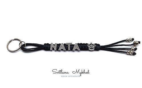 Porte clés NATA PRINCESSE personnalisé avec nom prénom message logo texte lettre métallique strass
