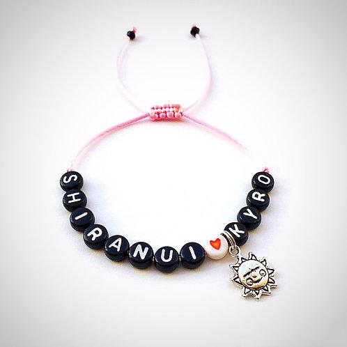 Bracelet personnalisé SHIRANUI KYRO SOLEIL COEUR avec prénoms nom message  création sur mesure