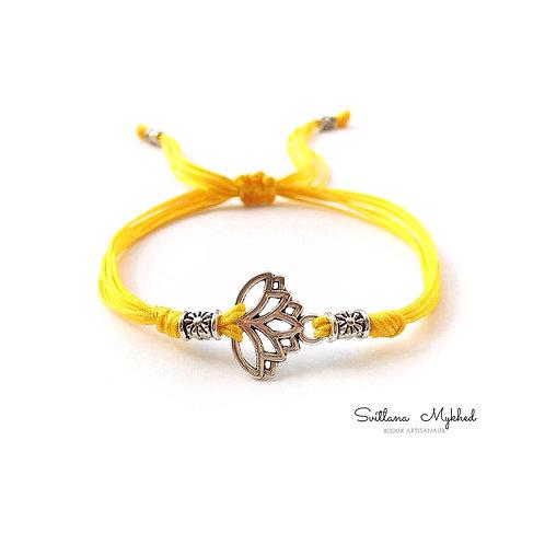 Bracelet personnalisé Fleur de Lotus salification zen méditation femme homme pas cher