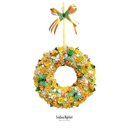 Couronne décorative Florale PAPILLONS VERTS Décoration florale porte d'entrée murale pour mariage