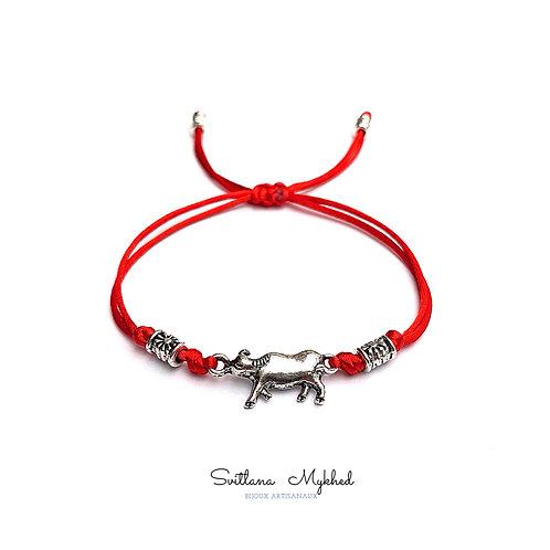 Bracelet cordon rouge BUFFLE. TAUREAU. VACHE. BISON TORÉADOR. ESPAGNE Perles tibétaines bijoux homme femme