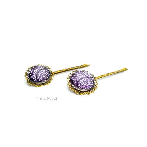 pince barrettes filigranes à cheveux violet. Accessoires coiffure ,cheveux  style retro femme fille