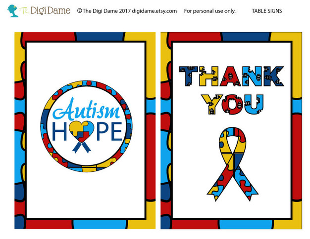 FREE Autism Table Signs Printable by The Digi Dame