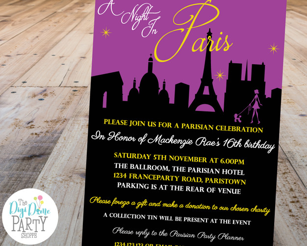 Paris Party Invitation by The Digi Dame Party Shoppe