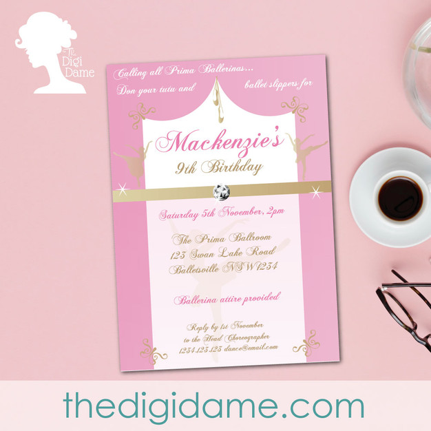 FREE Ballerina Party Printable Invitation by The Digi Dame