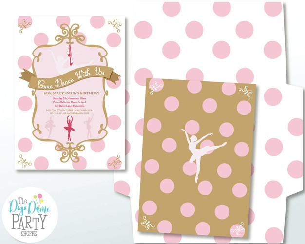 Ballerina Party Invitation by The Digi Dame Party Shoppe