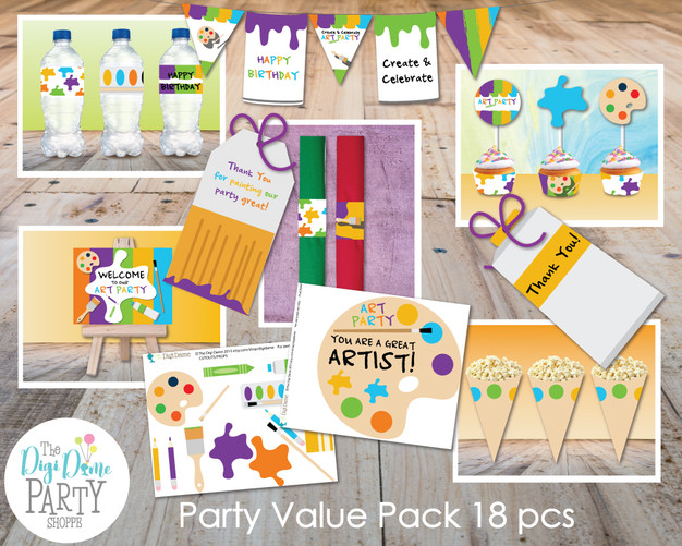 Art Party Printables by The Digi Dame Party Shoppe