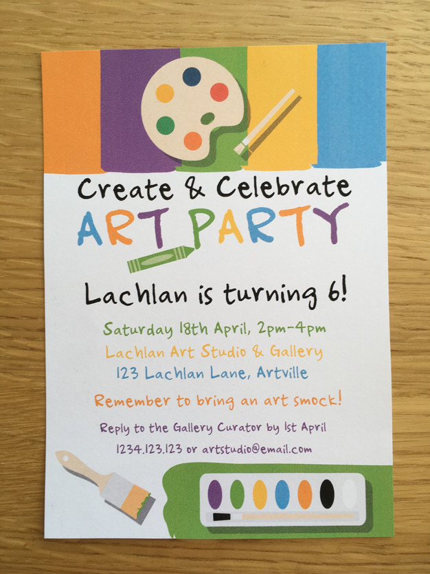 art party invitation by the digi dame party shoppe