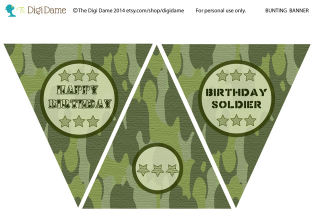 FREE Army Party Bunting printable by The Digi Dame