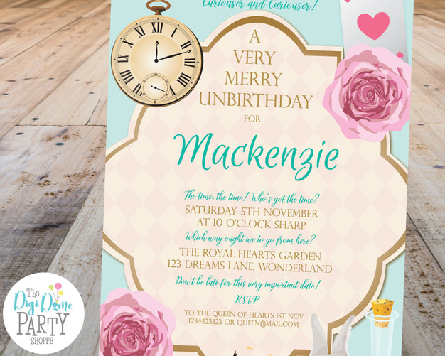 Wonderland Party Invitation Printable by The Digi Dame