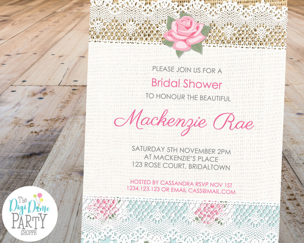 Lace and Roses Party Invitation Printable by The Digi Dame