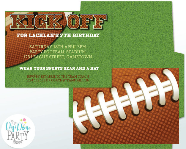 Football Party Invitation by The Digi Dame Party Shoppe