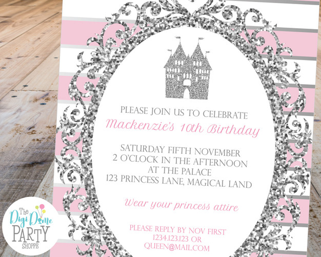 pink princess invitation by The Digi Dame Party Shoppe