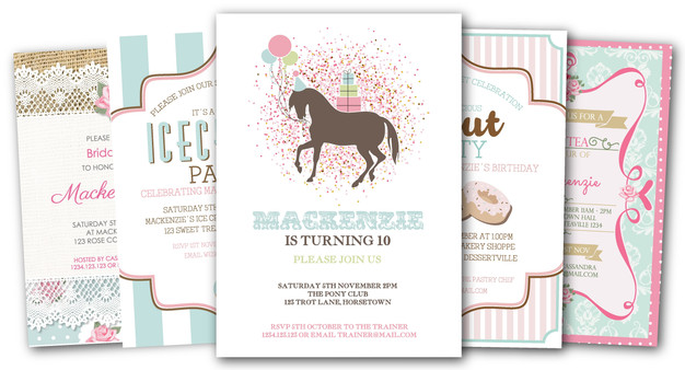 Girls Party Invitations by The Digi Dame