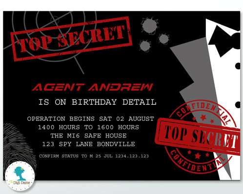 Secret AgentSpy Party Invitation – Spy Party Invitation