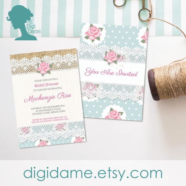 Roses Party Invitation Printable by The Digi Dame
