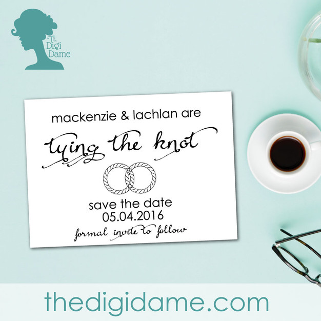 Tying the Knot Save The Date STD Card Printable by The Digi Dame