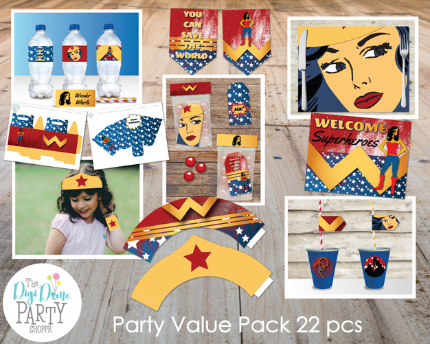wonder woman party printables by The Digi Dame Party Shoppe