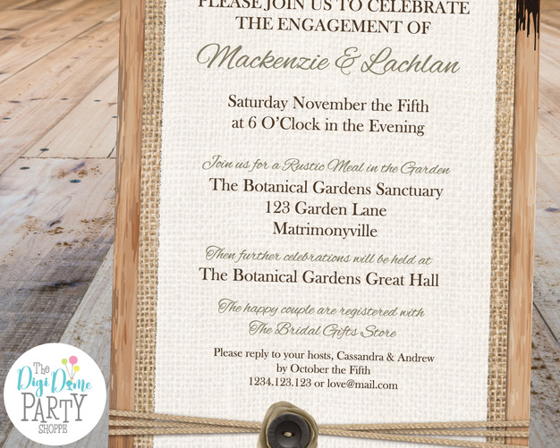 Rustic Wedding Engagement Party Invitation Printable by The Digi Dame