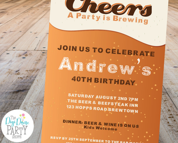Beer Party Invitation by The Digi Dame Party Shoppe