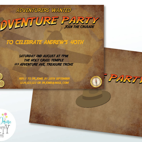 Adults Party Printables – Indiana Jones Party Invitations