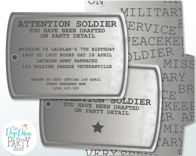 Military Dog Tag Invitation by The Digi Dame