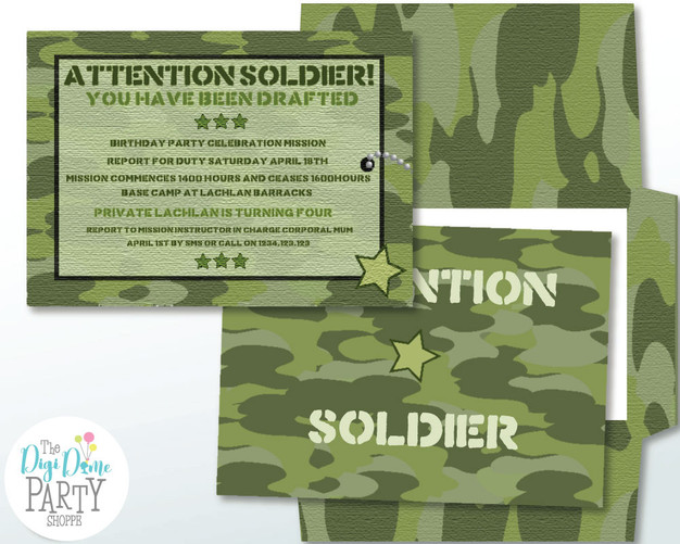 Army Party invitation by The Digi Dame