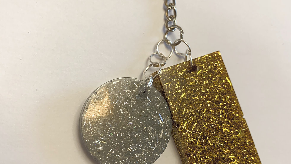 Gold and silver sparkly keyring