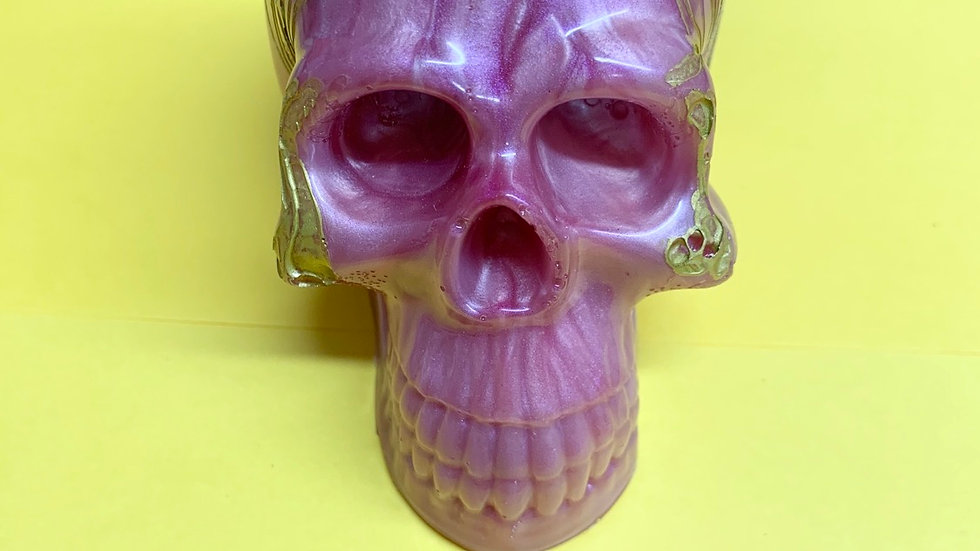Pink and gold resin art skull