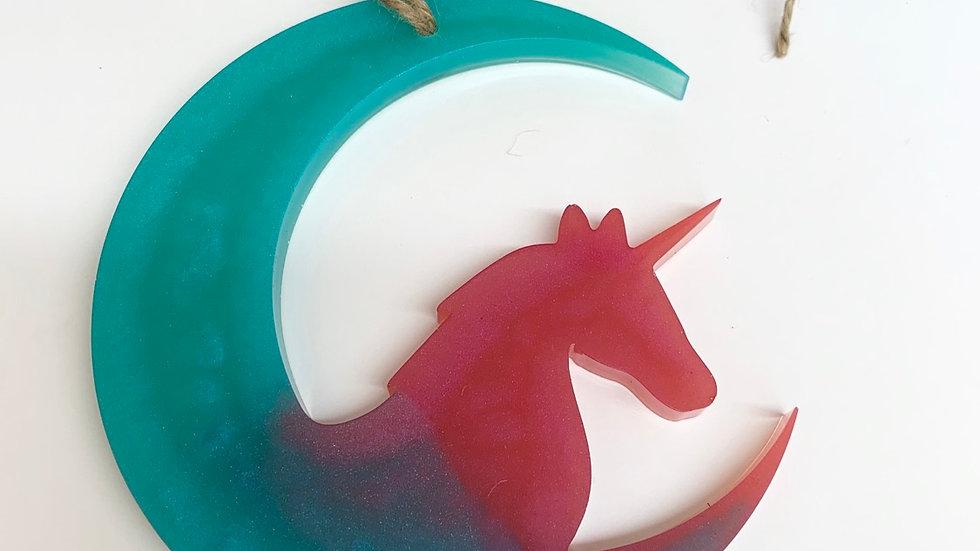 Resin art unicorn and moon