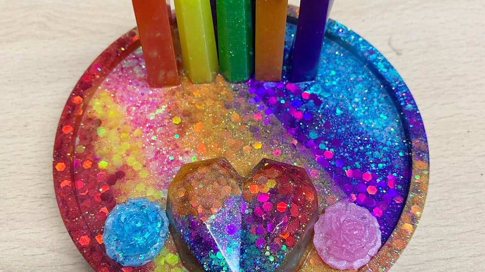 Resin art Rainbow phone holder