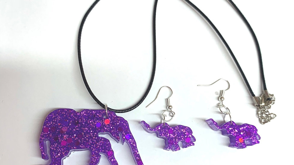 Elephant resin art necklace and earring set
