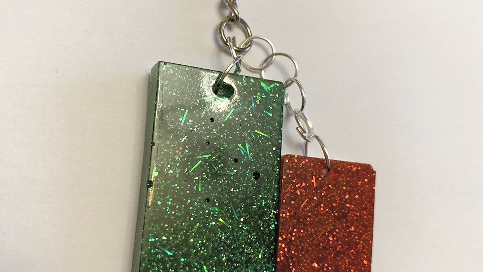 Green and Red sparkly keyring