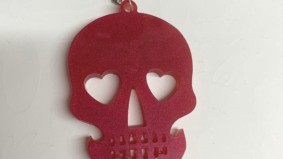 Resin art red skull keyring