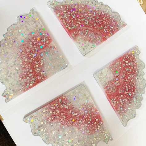Pink, white and silver coasters