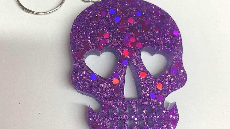 Resin art skull keyring