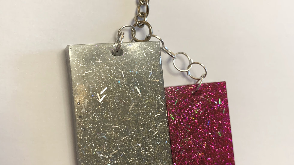 Silver and pink sparkly keyring