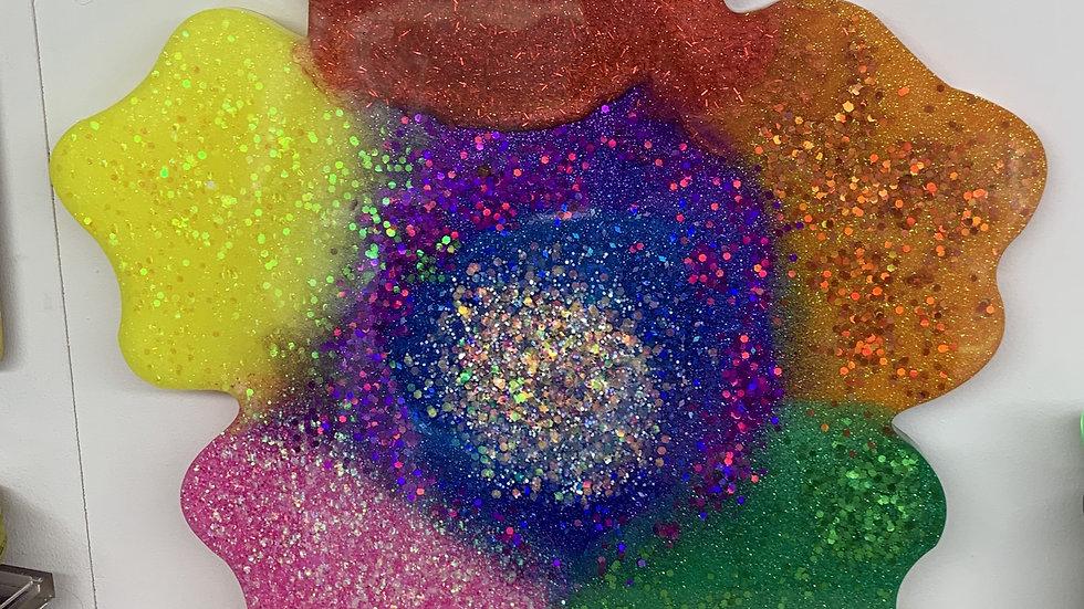 Giant Rainbow resin art flower