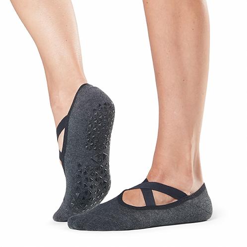 Tavi Noir Chloe Grip Socks In Charcoal With Ebony Trim