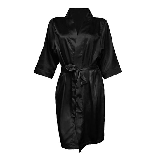 Plain Black Satin Robe