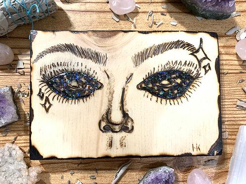 """Starry Eyed"" Pyrography Piece"