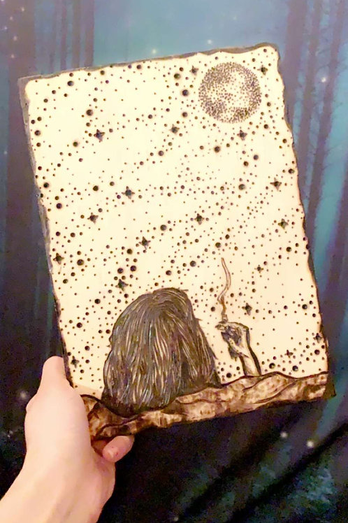 """""""A Peak Into The Infinite"""" Pyrography Piece"""