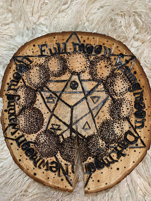 """Lunar Spirit""Pyrography Crystal Grid"