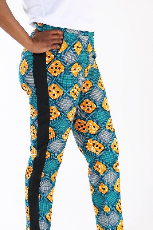 EN PRECOMMANDE - Pantalon en coton imprimé wax et bandes en lin