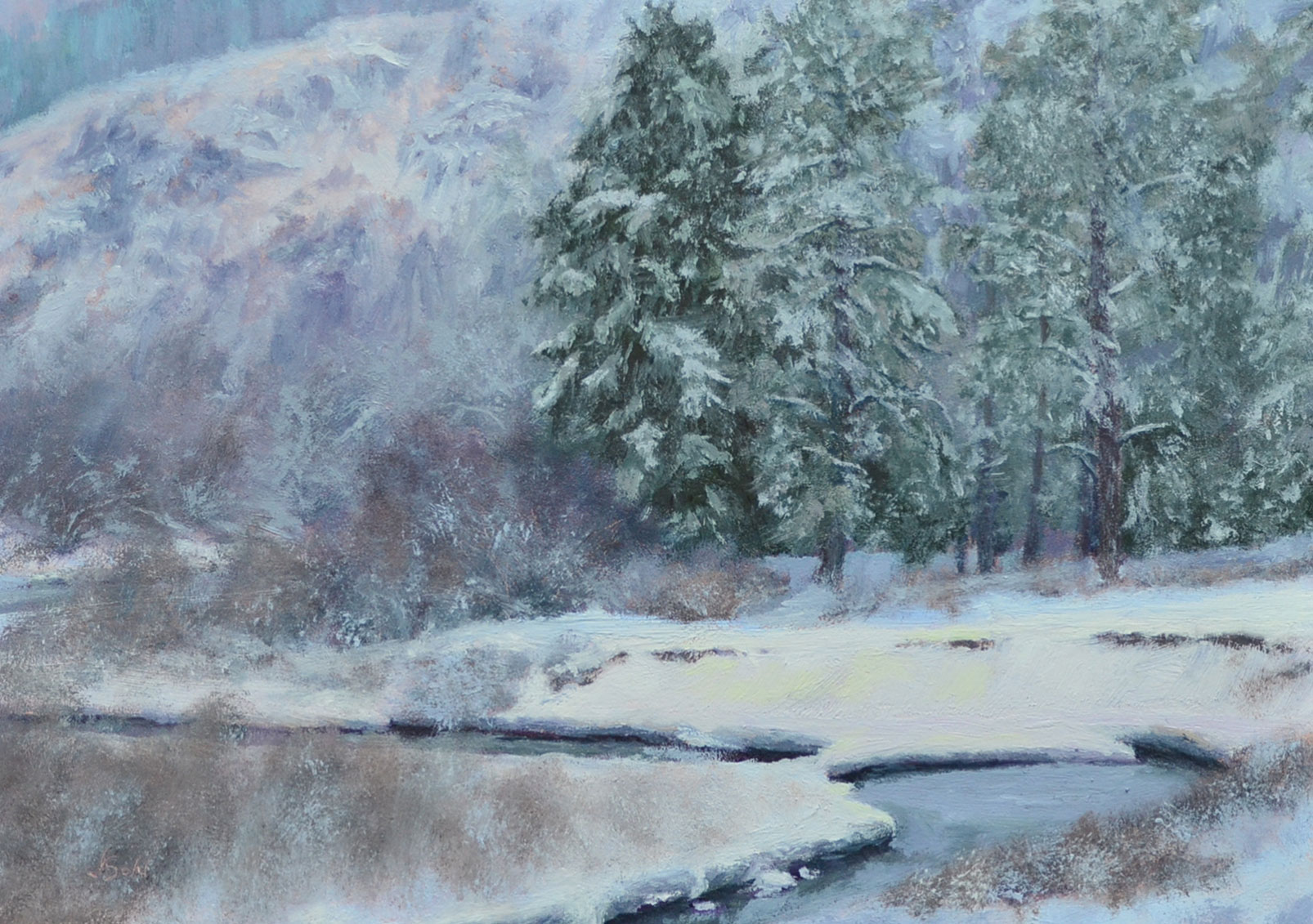 Silver City Snow  5x7 oil