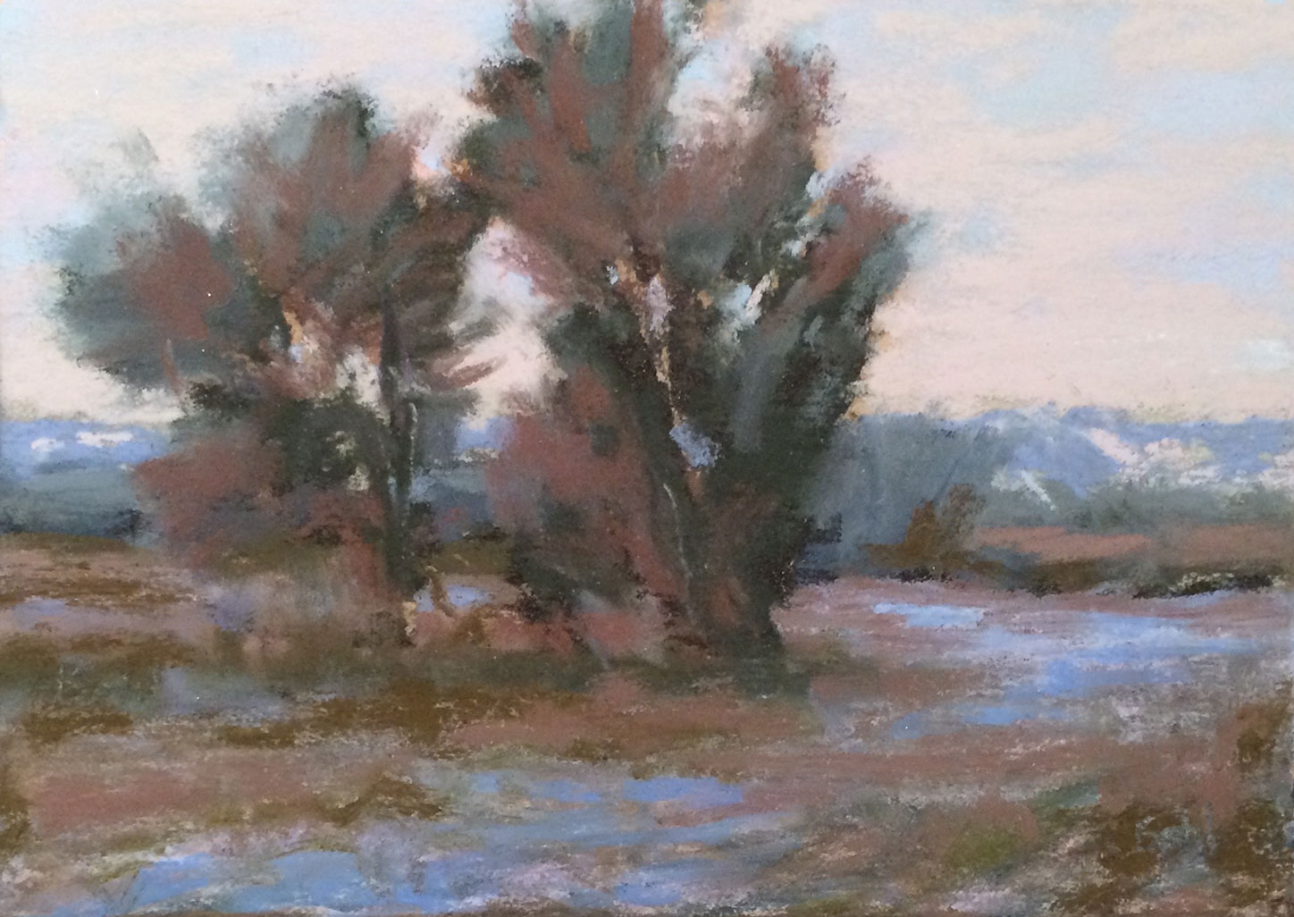 """Sundown on the Powder"" 2x3 pastel"