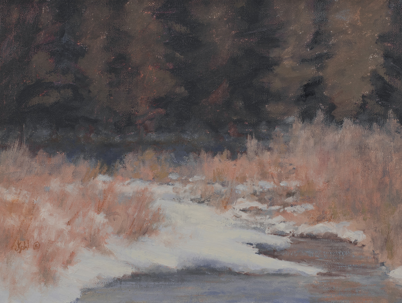 """Open Water Winter""   12x9 oil"