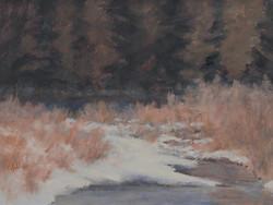 """""""Open Water Winter""""   12x9 oil"""