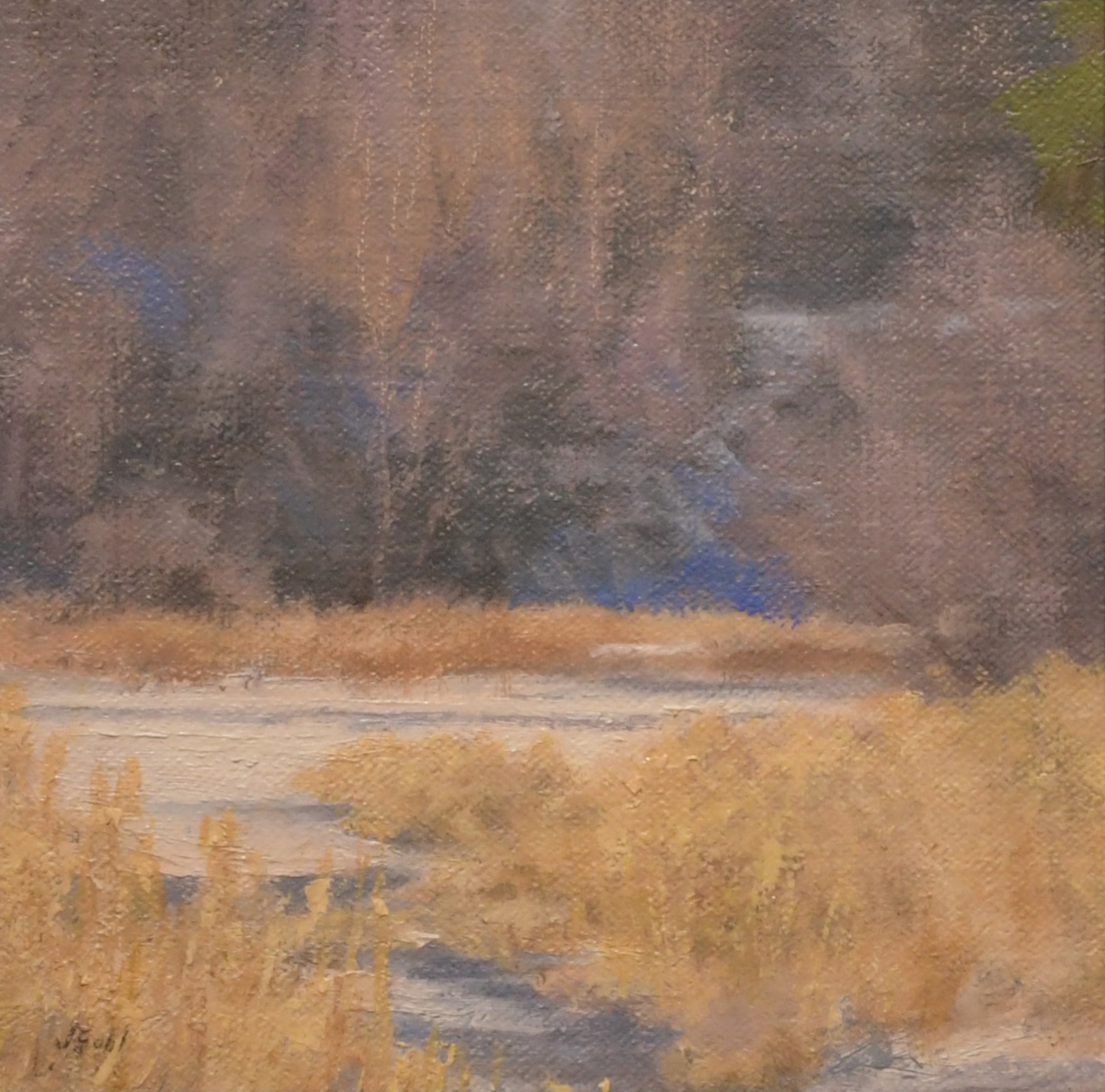 """Spring Creek Thaw""   6x6 oil"